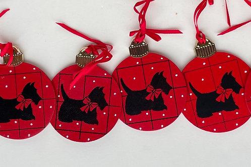 Vintage Set of 6 Dept 56 Scottie Dog Grid Wooden Ornaments