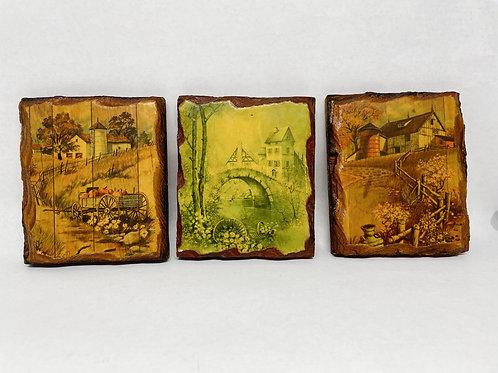Set of 3 Vintage Prints on Wood