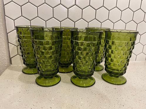 Set of 6 Green Glass Tumblers