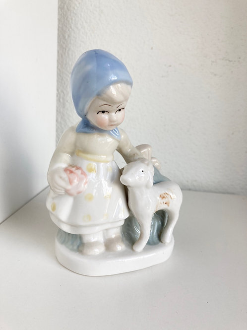 Vintage Porcelain Girl & Dog Figurine
