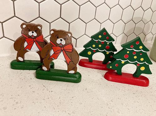Set of 4 Vintage Wooden Christmas Bear & Tree Napkin Ring Holders