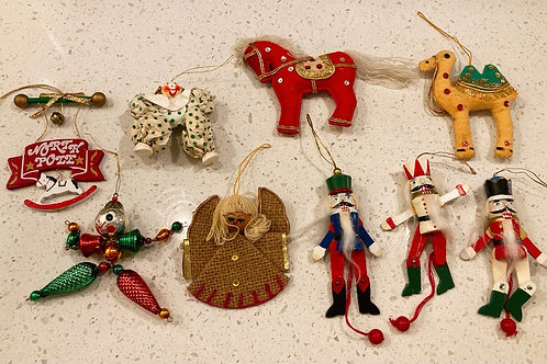 Set of 9 Vintage Christmas Ornaments
