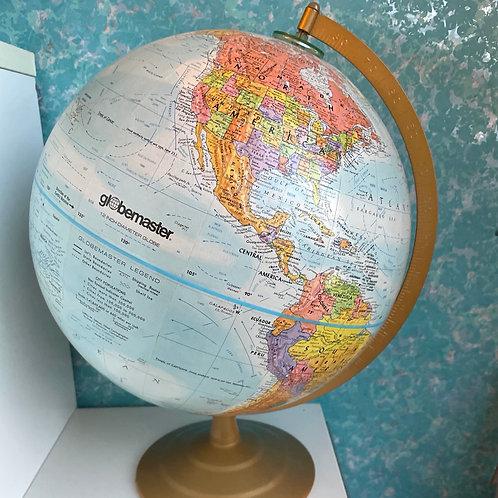 Vintage Globemaster 12 in Round Raised Mountain Surface Globe