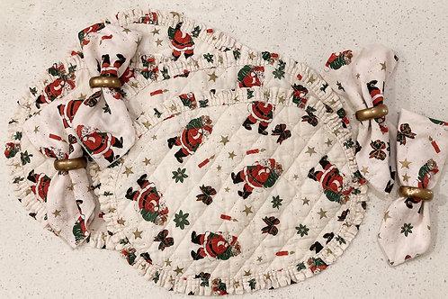 Set of 4 Vintage Santa Placemats, Napkins & Napkin Rings