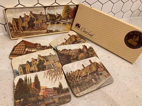 Set of 8 Vintage Clover Leaf Coasters