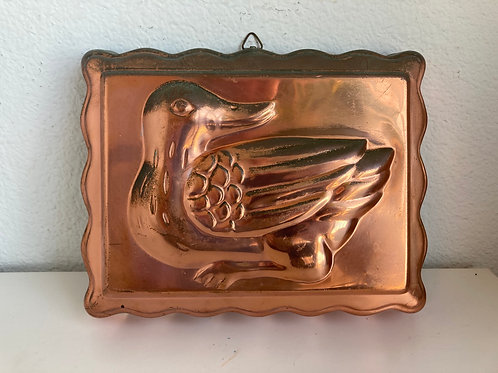 Vintage Copper Duck Jello Mold Wall Hanging