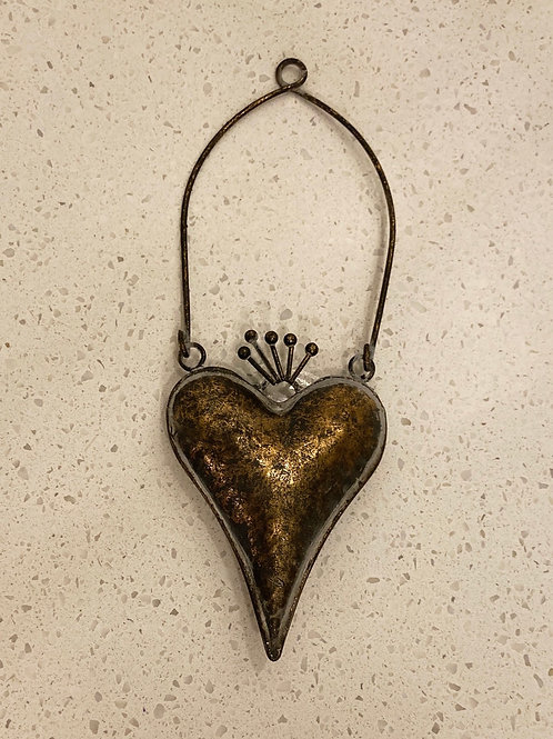 Small Hanging Metal Antique Bronzed Heart