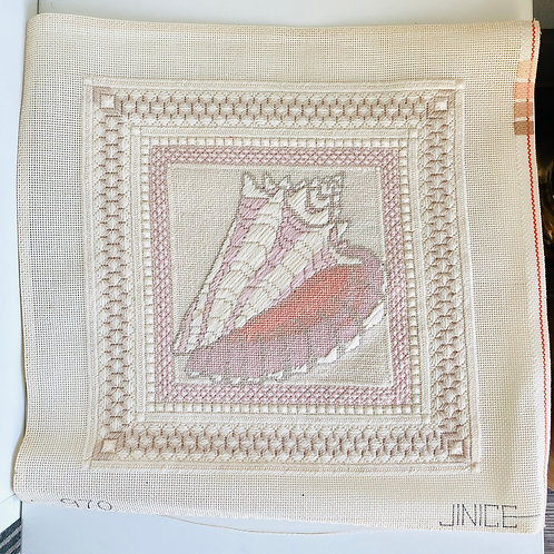 Vintage Needpoint Canvas Seashell by Jinice Floral Designs