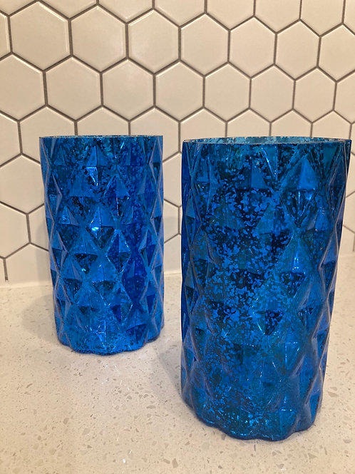Set of 2 Tall Blue Mercury Glass Lanterns or Vases
