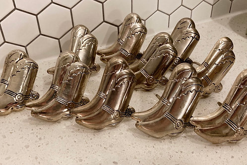 Set of 10 Vintage Silver Cowboy Boot w/ Spur Napkin Ring Holders