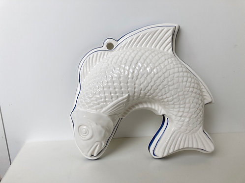 Vintage Ceramic Fish Mold White w/ Blue Trim Wall Hanging