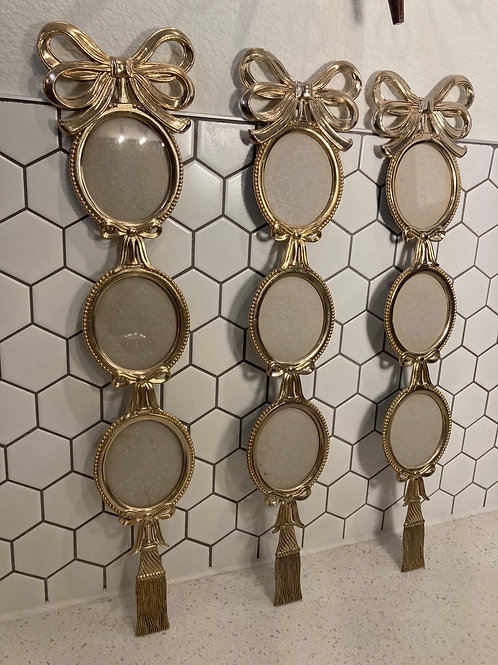 Set of 3 Vintage Brass Bow & Tassel Triple Photo Wall Hanging Frames