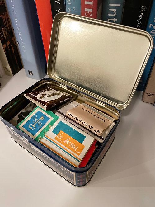 Vintage Diane Planen Watercolor Medium Tin Box w/ Vintage Matches