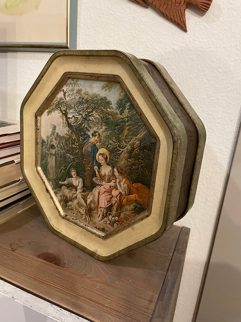 Vintage Metal Tin Box w Removable Lids Both Sides