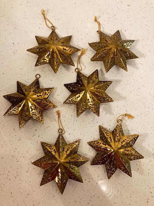 Set of 6 Vintage Brass Star Cutout Ornaments
