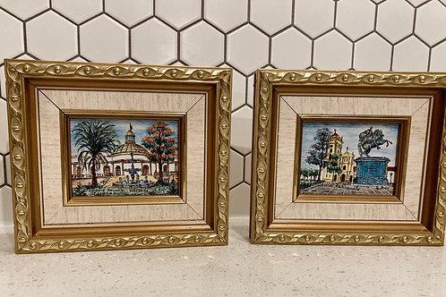 Set of 2 Vintage Framed Venezuela Oil Paintings by E.Rojo