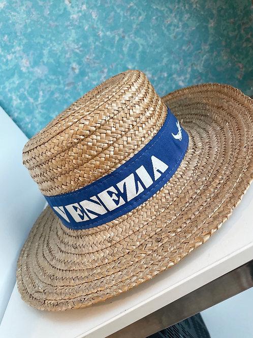 Vintage Venezia Italian Gondolier Straw Hat w/ Blue Ribbon