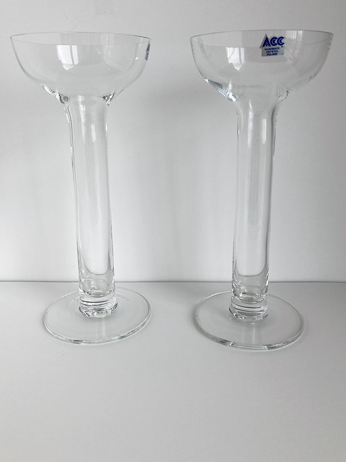 Set of 2 Hand Blown ACC Romanian Crystal Glass Candle Holders
