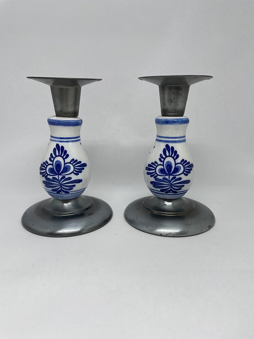 Set of 2 Blue & White Candlestick Holders