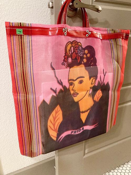 Handmade Pink/Red Printed Frida Kahlo Mesh Recycled Large Tote Bag
