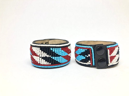 """Mbili Ya Aina"" Beaded, Leather Bracelet Cuff"