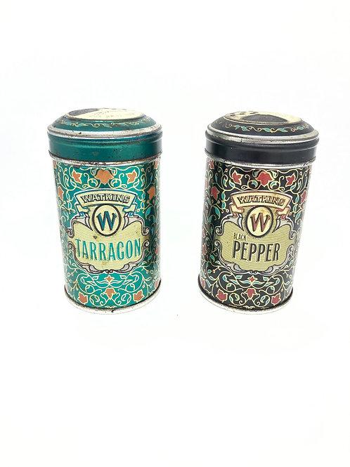 Juego de 2 latas de coleccionista Vintage Limited Edition Watkins Inc. Tarragon & Pepper