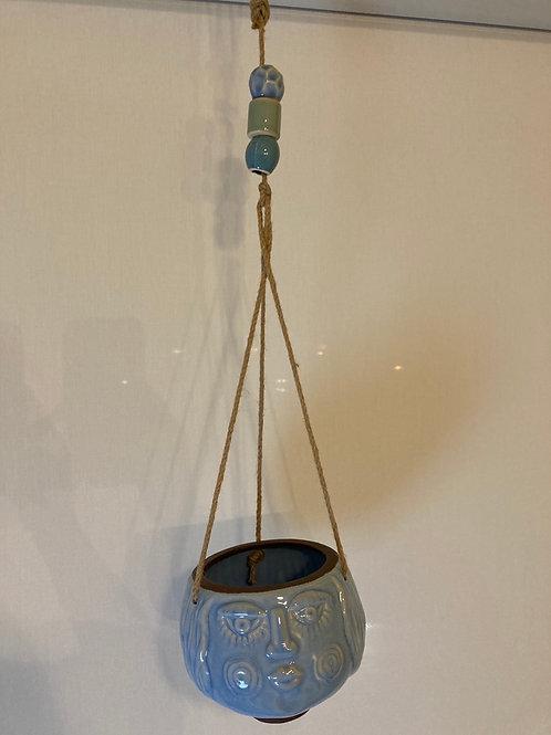 Handmade Blue Face Modern Hanging Planter