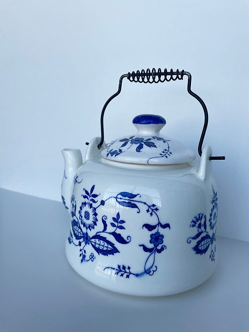Vintage Blue and White Teapot