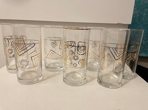 Set of 7 Vintage Rare Dimlaj Geometric Gold Pattern Glasses