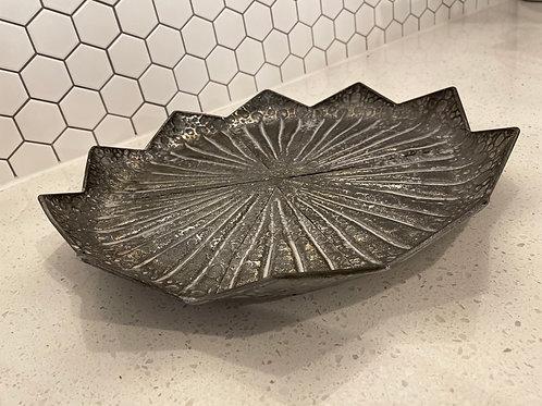 Antique Bronzed & Silver Metal Handmade Tray