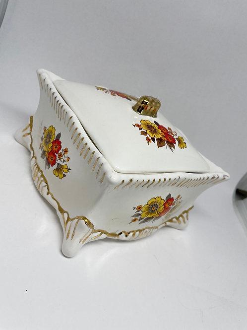 Vintage White W/ Retro Flower Design Trinket Box