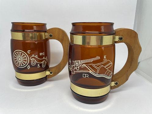 Set of 2 Vintage Siesta Ware Western Cowboy Amber Glass Beer Mugs