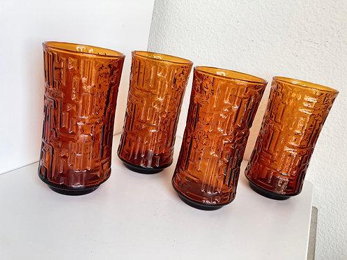 Set of 4 Vintage Amber Colored Drinking Glasses