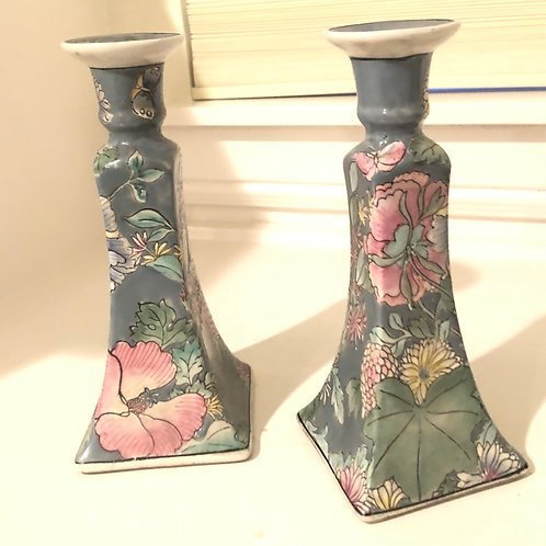 Pair of Vintage Hand-painted Chinese Porcelain Candlestick Holders by Macau Toyo