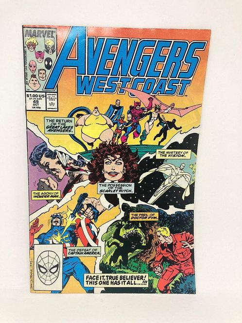 Vintage Avengers West Coast #49 Marvel Comic Book Oct '89