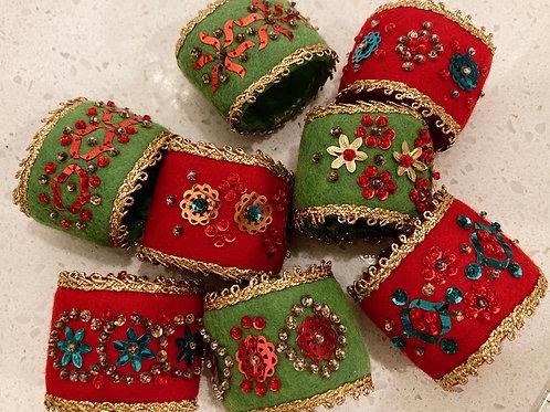 Set of 8 Handmade Vintage Felt & Sequined Napkin Ring Holders