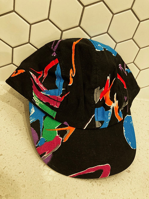 Vintage Wendy's Retro Neon Black Short Bill Abstract SnapBack Hat