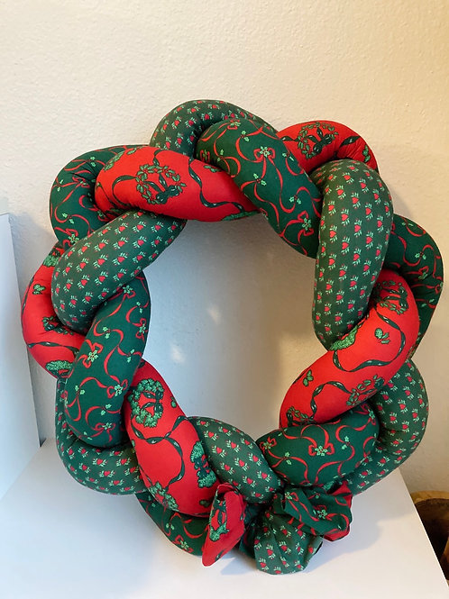 Handmade Vintage Braided Fabric Christmas Wreath