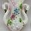 Thumbnail: Vintage Double Swan Floral Opalescent Large Vase
