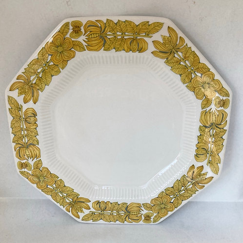 Vintage Independence Ironstone Yellow Bouquet Octagon Plate