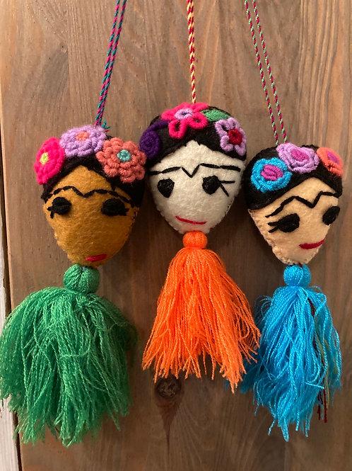Handmade Felt & Yarn Frida Kahlo Embroidered Hanging Decor/Ornament