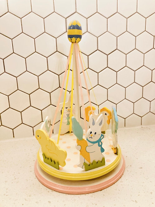 Vintage Wooden Ribbon Easter Carousel Table Decoration