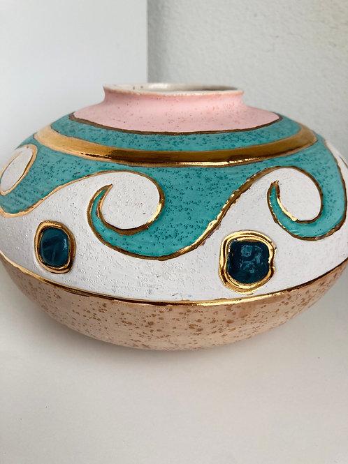 Vintage Teal, Pink & Gold Ceramic Vase or Planter