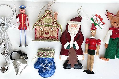 Set of 8 Large Vintage Christmas Ornaments #2218