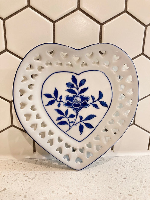 Vintage Small Blue & White Flower, Heart Hanging or Trinket Plate