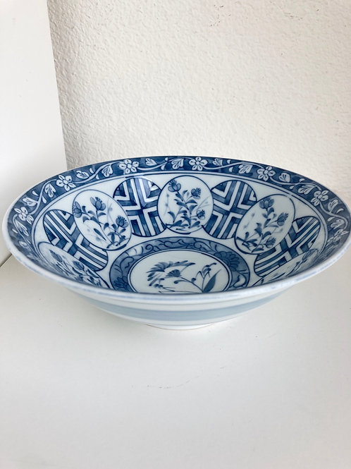 Vintage Blue & White Porcelain Bowl Striped on Outside