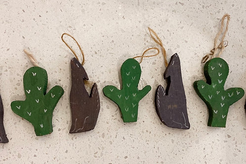 Set of 7 Vintage Cactus & Coyote  Wooden Ornaments