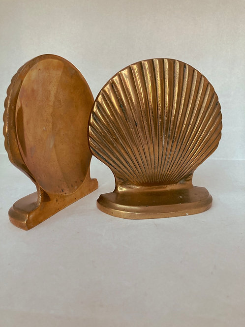 Set of 2 Vintage Seashell Brass Bookends
