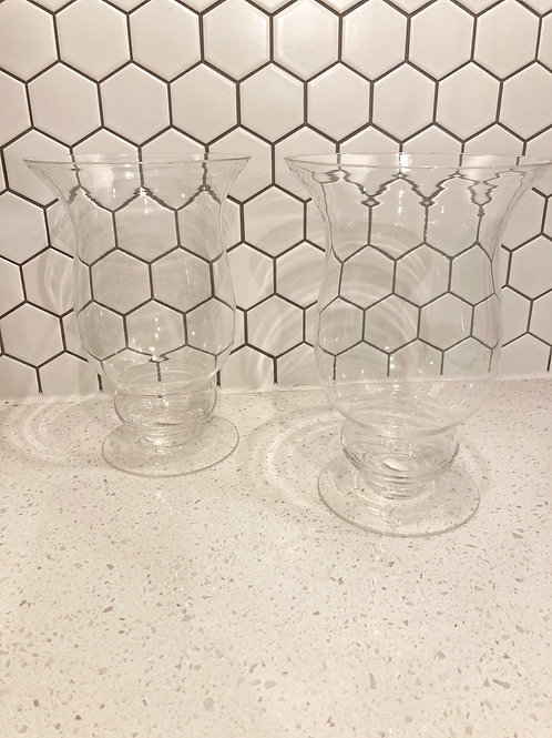 Set of 2 Vintage International Silver Co Glass Hurricane Candle Holders