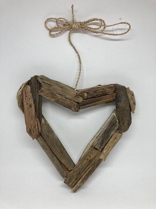 Hanging Handmade Wooden Heart Wreath